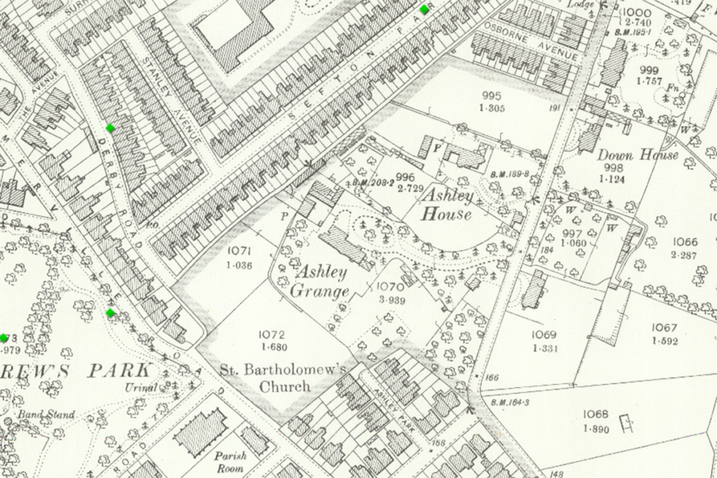 Map showing the site of Ashley Grange.